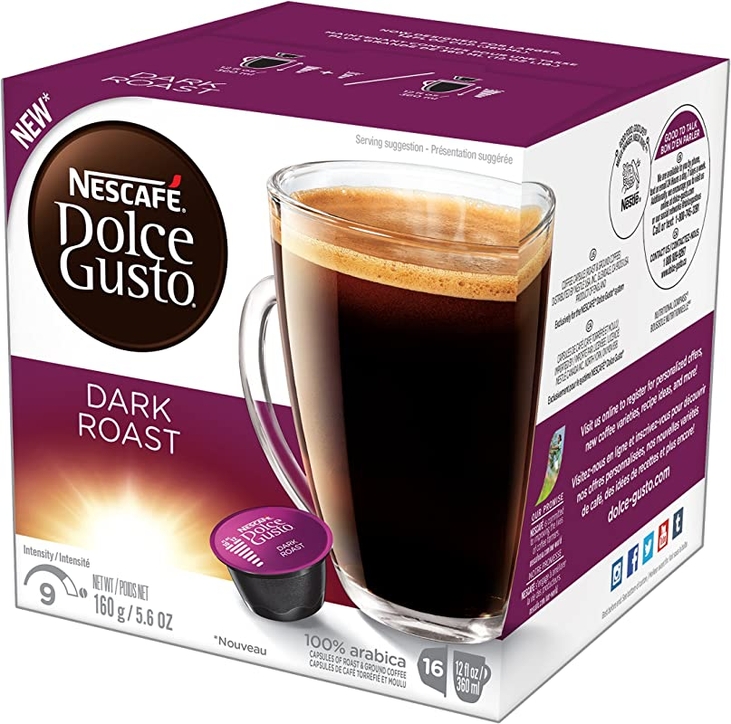 NESCAF Dolce Gusto Coffee Capsules Dark Roast 48 Single Serve Pods Makes 48 Cups 48 Count