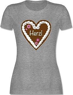 Shirtracer Oktoberfest & Wiesn Damen - Lebkuchenherz Herzl - Tailliertes Tshirt für Damen und Frauen T-Shirt