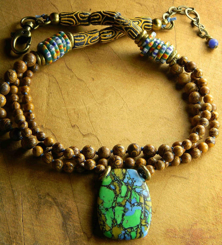 Mosaic Jasper Pendant Outstanding African New item Necklace