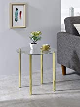 Kings Brand Furniture - Milnai Round Side End Accent Table, Gold Metal/Glass