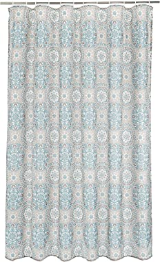 Amazon Brand - Solimo Morne Polyester Shower Curtain, 70 inch x 79 inch, Blue