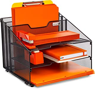 Desk Wiz All-in-One Desktop Organizer File Folder Holder with Sturdy Non-Slip Rubber Feet - Black Metal Mesh Office Desk Supplies and Accessories Organizer