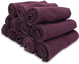 Arkwright Bleach Safe Salon Towels Pack of 12 (16 x 28 inch, Eggplant)