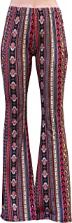 High Waist Gypsy Comfy Yoga Ethnic Tribal Stretch Palazzo 70s Bell Bottom Fit to Flare Pants