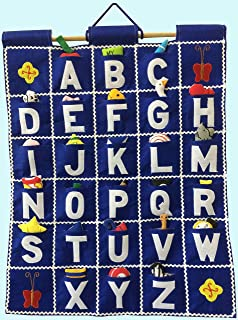 Pockets of Learning ABC Wall Hanging -- Blue, Alphabet Fabric Wall Décor for Children, Kid's Room Décor