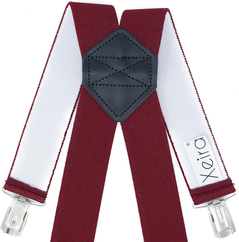 Xeira Hosentr/äger X Design f/ür Herren und Damen mit 4 soliden Clips und Echt Leder verf/ügbar in XXXL L/änge