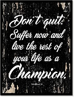 SpotColorArt Don't Quit Suffer Now & Live The Rest of Your Life as a Champion - Muhammad Ali Motivation Quote Saying Black Canvas Print with Picture Frame Home Decor Wall Art Gift Ideas 13