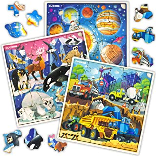 Wooden Jigsaw Puzzles for Kids Ages 4-8, 3 Pack Puzzles, Children Toddlers Games for Learning Cars Galaxy Polar Animals, Almost 100 Pieces Set, Educational Wood Toys for Boys and Girls 3-5 Year Olds