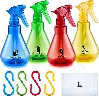 Plastic Empty Spray Bottle 4 Multicolor Set. Spray Bottles Household Flat Bottom Leak Proof Technology 16 oz Value Pack of 4 Multicolor Plastic Bottles Set with Labels.