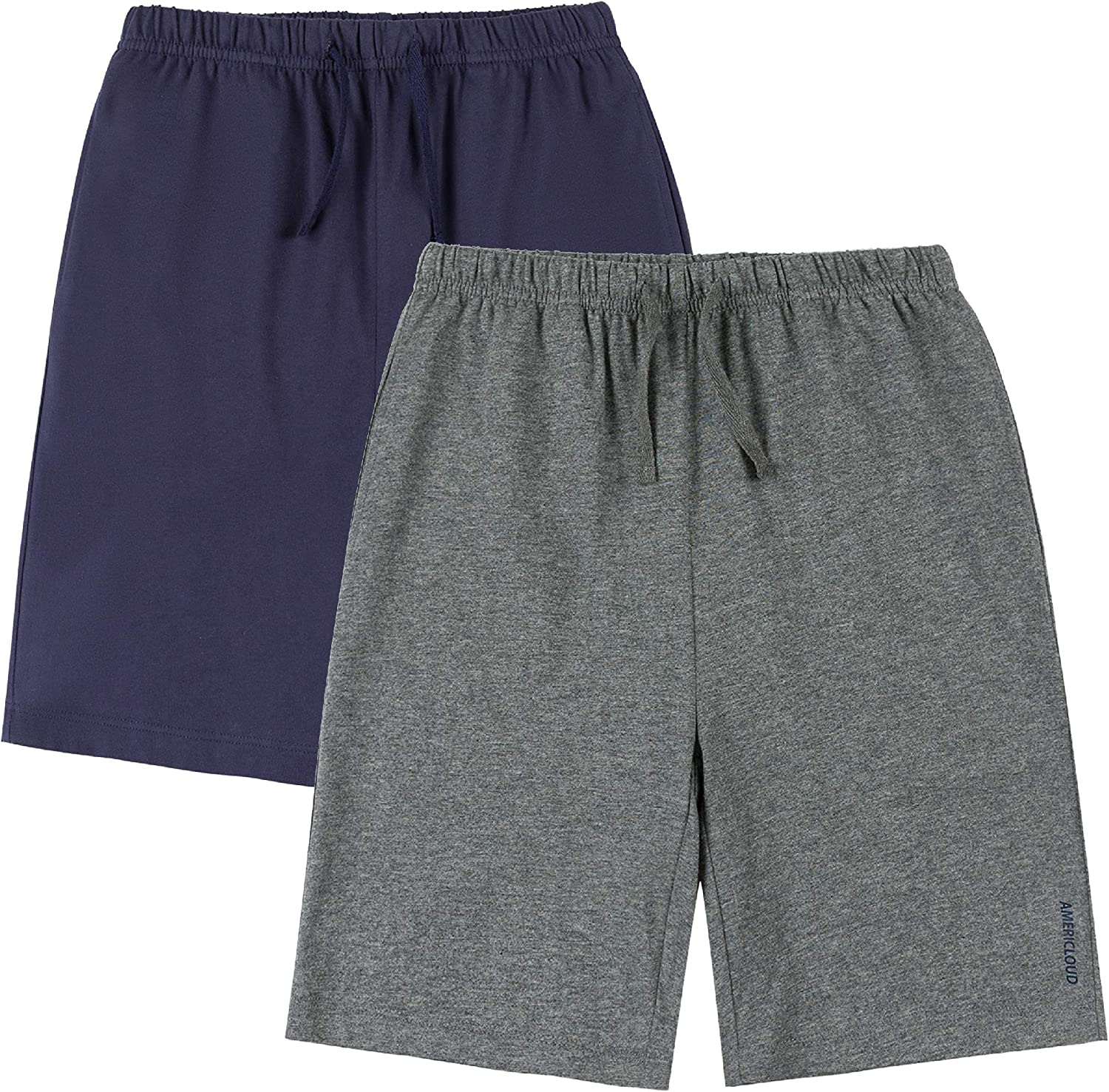 AMERICLOUD Kids 1 or 2 Pack Drawstring Cotton Shorts Soft Athletic Shorts with Pockets for Boys and Girls 3-12 Years