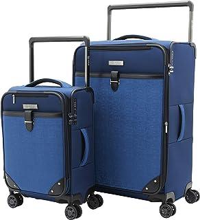 M&A Encore Wide Trolley Spinner Luggage with TSA Lock, Blue, 2-Piece Set (20/28)