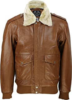 Xposed New Mens Real Leather US Air Pilot Bomber Jacket Removable Fur Collar Black
