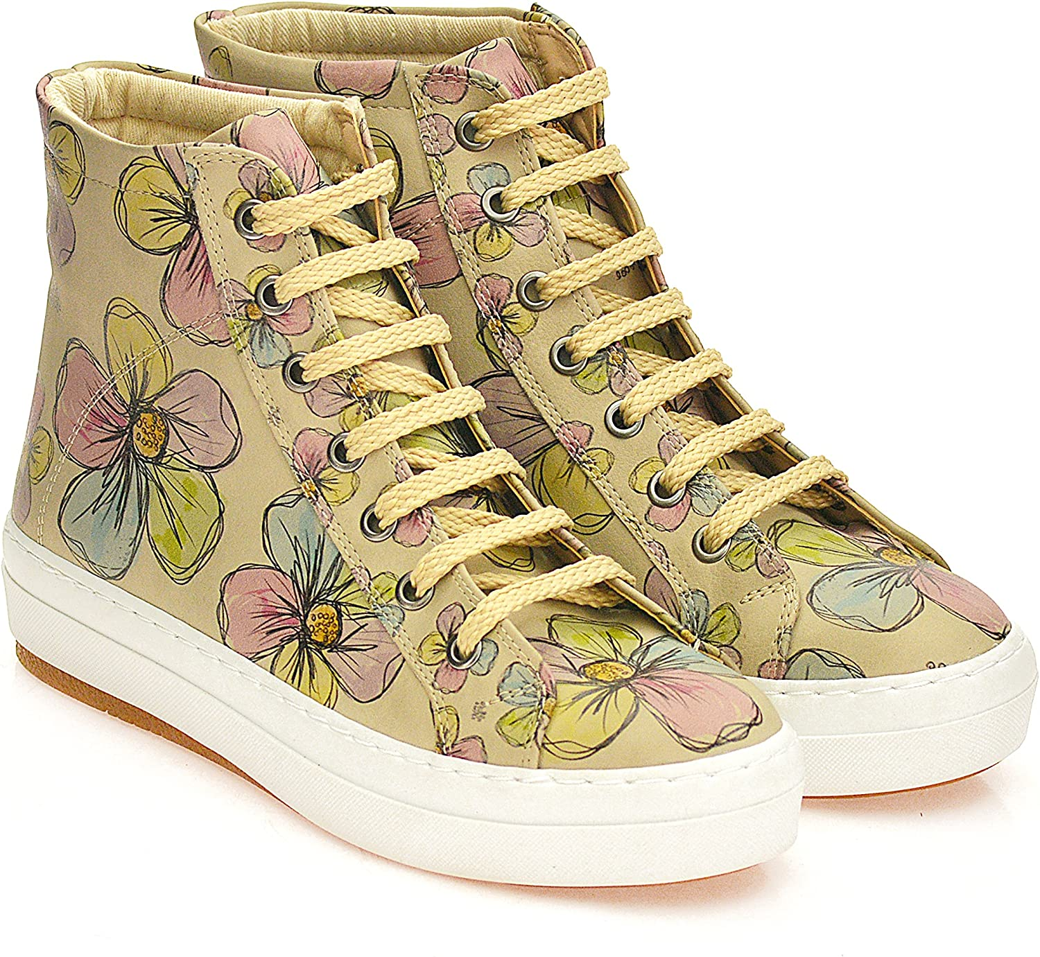 GOBY Women's shoes ''Floral Print High Top Sneakers Boot'' CW2017