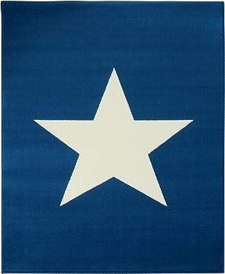 Hanse Home Design - Alfombra (140 x 200 cm, Polipropileno, 140 x 200 x 0,9 cm), diseño de Estrellas, Color Azul Oscuro