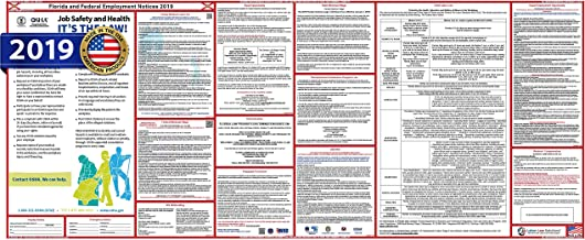 2019 Florida State and Federal Labor Law Poster Ultra-Wide. Heavy Duty, Water Proof Laminated