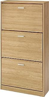 MUEBLECASA - Zapatero KIT 3 cajoneras con doble fila hasta 24 pares madera Alto 127cm x Ancho 65cm x Fondo 25cm Roble