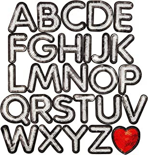 Bright Creations Iron On Alphabet Sequin Letter Patches A -Z and Heart (27 Piece)