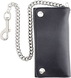 RFID Blocking Men's Tri-fold Vintage cow Leather W/Chain card holder Wallet,USA
