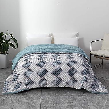 Mohap Comforter Queen Patchwork Warm Flannel Duvet Insert Alternative Quilted Bi-Color Soft & Breathable Machine Washable