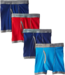 Hanes Boys' 4 Pack Ultimate Comfort Flex Ringer Boxer Brief, Assorted, Small