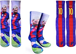 Forever Fanatics Barcelona Messi #10 Soccer Crew Socks ✓ Lionel Messi Autographed ✓ One Size Fits 6-13 ✓ Made in USA ✓ Ult...