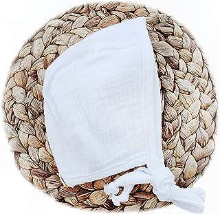 Baby Bonnet White Cotton Muslin Soft Sun Hat Winter Christmas Spring Summer All Seasons Baby Hat