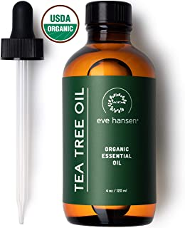 Eve Hansen Organic Tea Tree Oil (4oz) | Highest Quality Melaleuca Alternifolia | Pure Tea Tree Oil for Skin, Scalp, Nail Health and Aromatherapy | Acne Treatment, Lice Treatment and Skin Tag Remover
