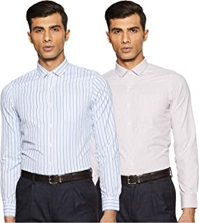 Excalibur by Unlimited Men's Solid Regular Fit Formal Shirt (Pack of 2)(Colors & Print May Vary)