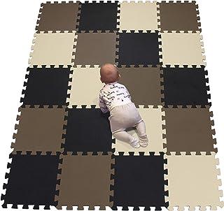 YIMINYUER Alfombra Puzzle de Colores de Goma EVA Suave, Resistente, Aislante, Lavable, Alfombra de Juegos para niños, tamaño del 30 x 30 cm Negro marrón Beige R04R06R10G301020