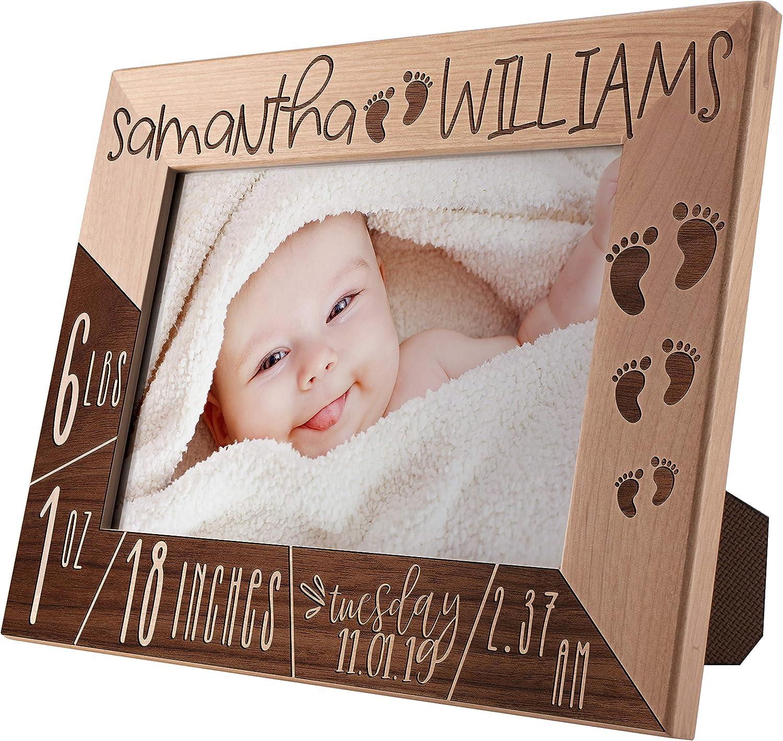 Personalized 即出荷 Birth ◆セール特価品◆ Announcement Frame Engraved Pi 5x7 Custom