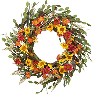 Amazon Com Nearly Natural 4821 24 Inch Spring Garden Wreath With Twig Base Multicolored Green Home Kitchen