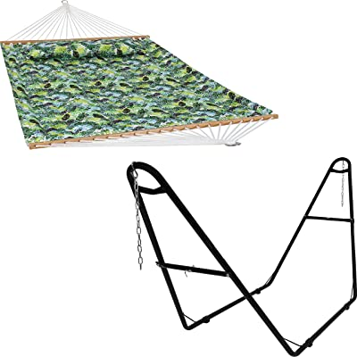 Sunnydaze Tropical Greenery 2-Person Quilted Printed Fabric Spreader Bar Hammock and Pillow with Metal S Hooks and Hanging Chains and 450-Pound Capacity Black Heavy-Duty Steel Hammock Stand Bundle