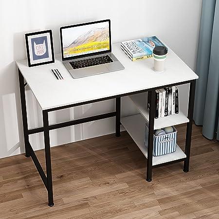 JOISCOPE Bureau d'ordinateur, Table d'ordinateur Portable, Table Industrielle en Bois et métal, Table d'étude avec étagères en Bois, 100 x 60 x 75 cm (Nouveau Finition Blanche)