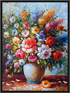 DecoDrama Colorful Flower Vase Floral Wall Painting Framed Wall Art for Living Room. (Multicolor)