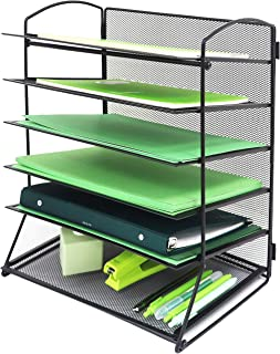 GoldOrcle 6 Tier Mesh Metal Office Organizer for Desk File Holder Letter Tray Paper Folder Storage for Home School and Off...