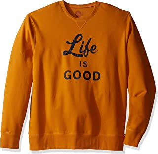 Life is good Go-to Crew Lig Script and Bold Sweater, Artisan Gold