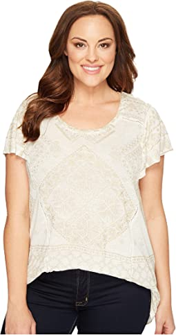 Lucky Brand Plus Size Metallic Geo Top