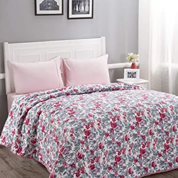 Maspar Donatella 100 GSM Floral Cotton Reversible Double Comforter Red