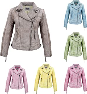 LEDER24H 2052 Women's Leather Jacket Yellow Blue Pink Bordeaux Turquoise Green Brown Red Black