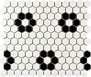 SomerTile FDXMHMWF Metro Hex Matte White w/Flower Porcelain Mosaic Tile, 10.25