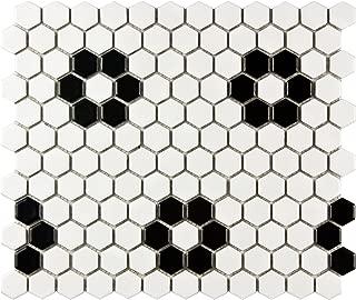 SomerTile FDXMHMWF Metro Hex Matte  White w/Flower  Porcelain Mosaic Tile, 10.25
