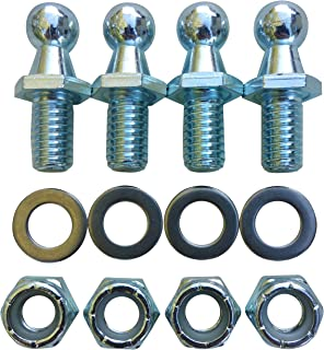 (4 Pack) 10mm Ball Studs With Hardware - 5/16-18 Thread x 1/2