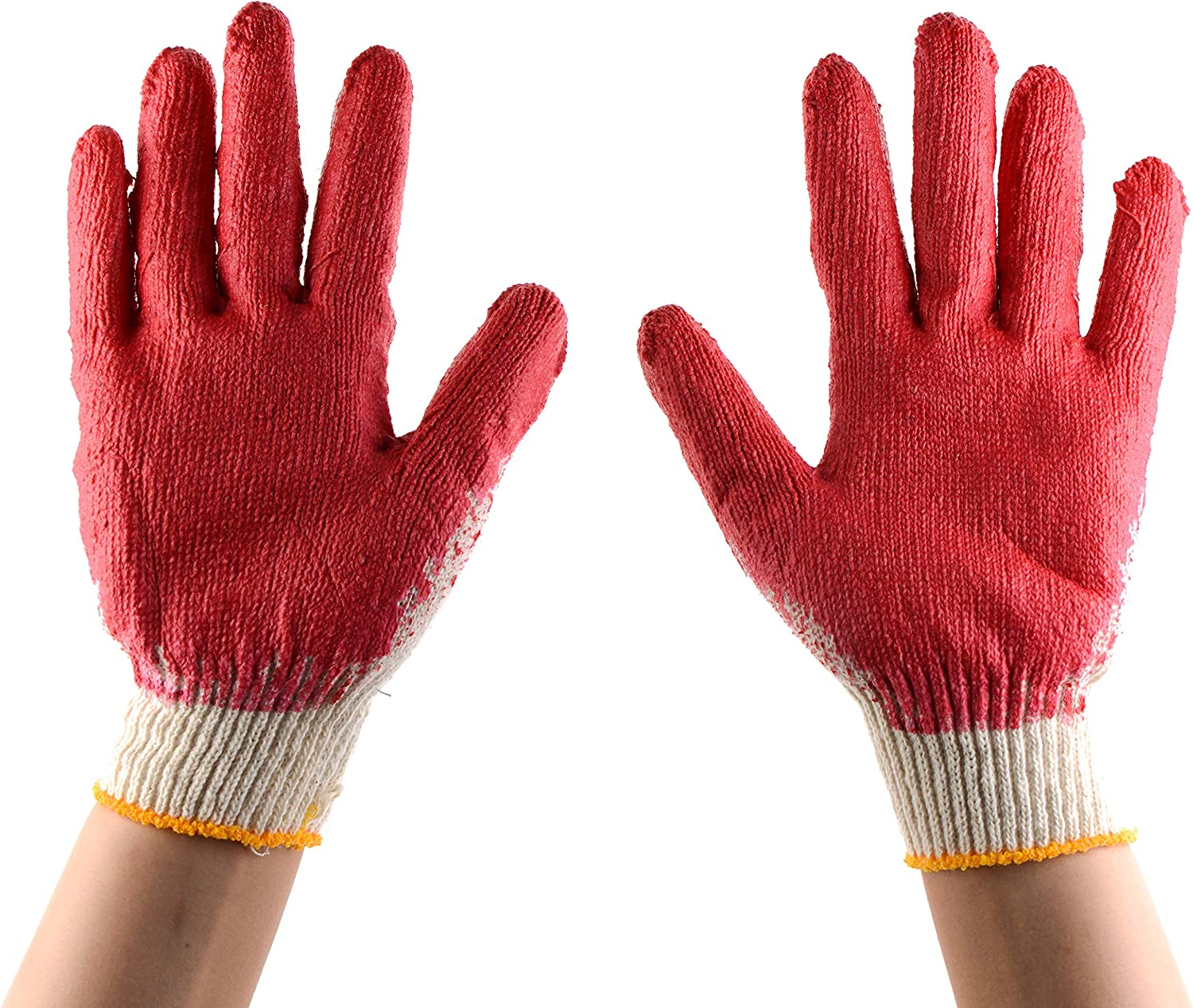 300 Pairs - Phoenix Mall Red Latex Coated Super popular specialty store MEDIUM EcoQ by Gloves Cotton Work