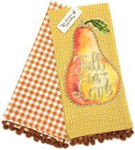 Haymarket Square Fall in Love Set of 2 Autumn Kitchen Tea Towels with Pom Poms Cotton Dishtowels for Fall Home Decor
