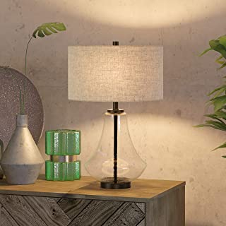 Henn&Hart TL0008 Seeded Glass and Antique Bronze Flax Shade Table Lamp, One Size