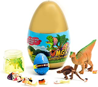 O.M.G! Jurassic Dinosaur 5 Surprise Dino Egg Both Educational and Fun Filled with Puzzles, Figures, Slime, Fossils and More!