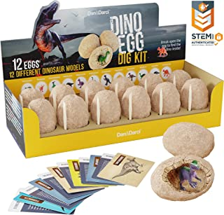 Dino Egg Dig Kit - Break Open 12 Unique Dinosaur Eggs and Discover 12 Cute Dinosaurs - Easter Archaeology Science STEM Gift