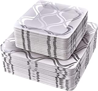 PARTY DISPOSABLE 72 PC DINNERWARE SET   36 Dinner Plates   36 Salad or Dessert Plates   Heavy Duty Paper Plates   for Upscale Wedding and Dining   Square Metallic Silver - Moroccan Collection