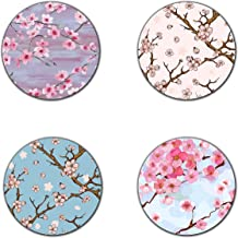 Beautiful Cherry blossom flowers coasters- 4 inch diameter-Round - neoprene coasters- Eco-Friendly, Made From 100% Recycled Rubber(Set of 4 )