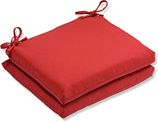 Pillow Perfect Outdoor/Indoor Tweed Squa Corners Seat Cushion (Set of 2), Red